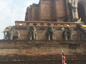 Elephants on Wat Chedi Luang Wora Viharn.